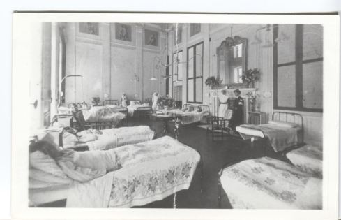 The Outer Library at Attingham Park as a hospital ward during WWI