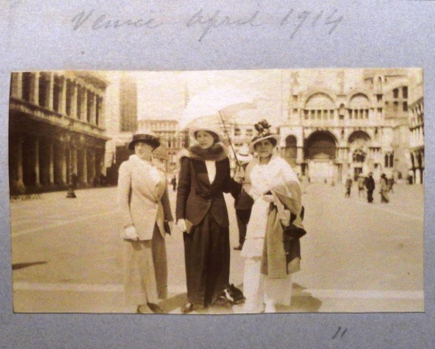 Gioconda, Teresa and their friend, Mary in St Marks Square, Venice, 1914.