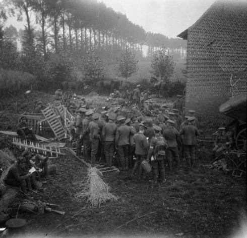 First Battle of Ypres, 1914. Distrubution of mail on the roadside near Ypres. The 2nd Battalion, Scots Guards, October 1914.
