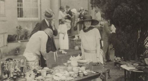 Teresa and her stall at the Attingham garden fête, 1924