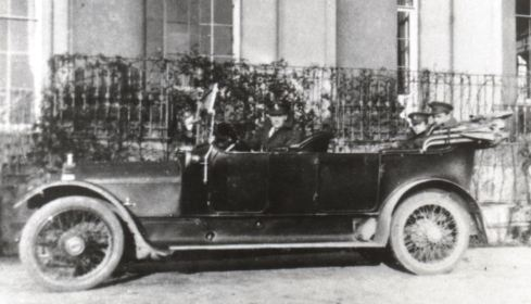 Motor car at the front of Attingham Hall, c.1917.