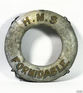 Lifebelt from HMS Formidable, sunk on the 1st January 1915 in the English Channel by torpedoes from German U-boat U24. © IWM (MAR 66)