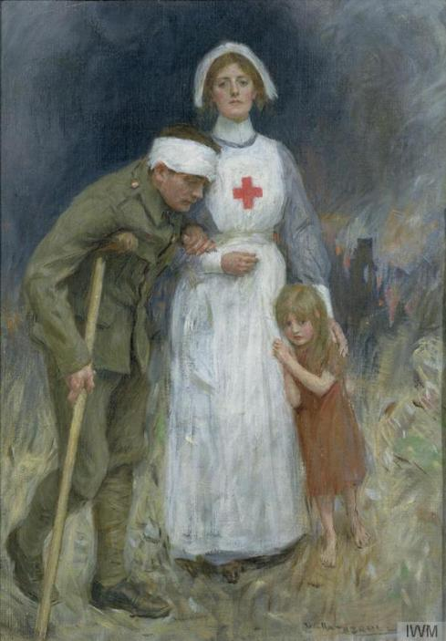 1915 oil painting of a nurse, soldier and child by William Hatherell.