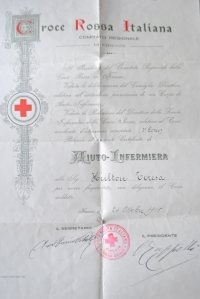 Teresa's Italian Red Cross Certificate, 1915