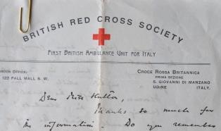 British Red Cross Letter in the Attingham Archive.