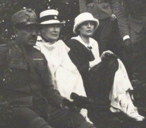 Teresa (right) sitting with Mrs Watkins (centre) at Costalunga, South Tyrol, Italy, August 1918.