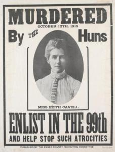 Recruitment poster with portrait of Edith Cavell.