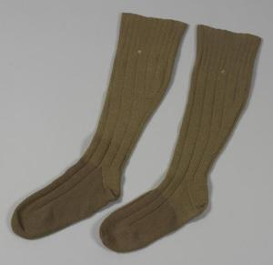 Standard issue khaki wool socks from the First World War.
