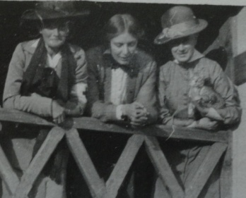 Mrs Gordon Watson (left), Teresa Hulton (centre) and Mrs Watkins with cat (right) at the soldiers' canteen at Cervignano, Northern Italy, October 1916.