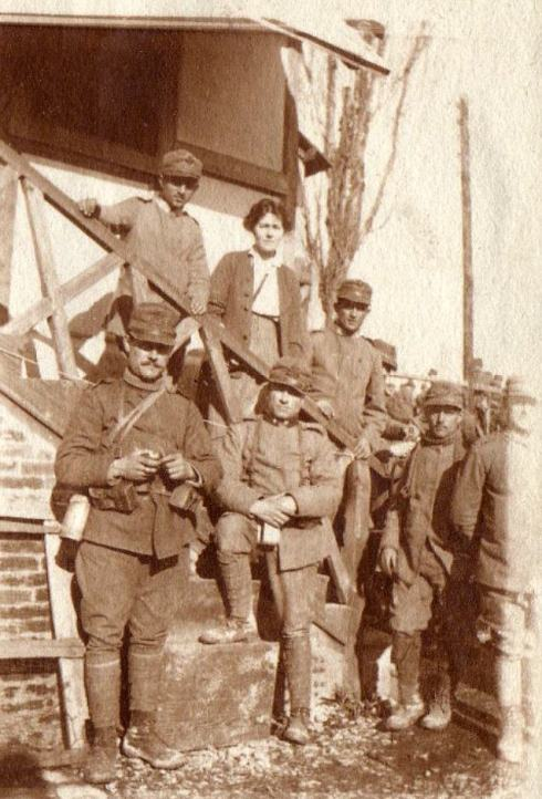 Bridget Talbot (centre) and soldiers, taken during her time working with Mrs Watkins in Northern Italy.