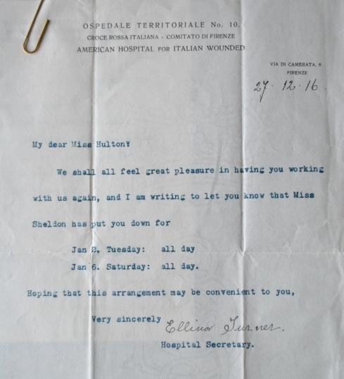 Letter concerning Teresa Hulton's work at the American Hospital in Florence, 1916.