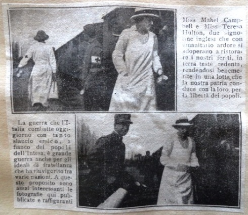 Newspaper clipping from the Tribuna Illustrata showing Mabel Campbell and Teresa Hulton helping the wounded soldiers on the train at San Giovanni di Manzano, northern Italy, taken between October and December 1915.