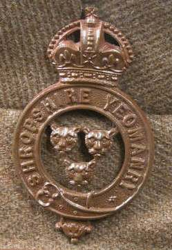 Shropshire Yeomanry badge on Lord Berwick's uniform in the Attingham collection.