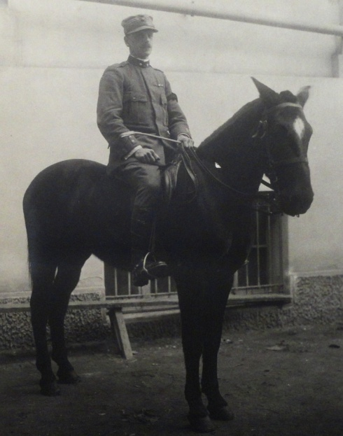 Luigi (Gino) Villari on horseback, Salonika, January 1918.