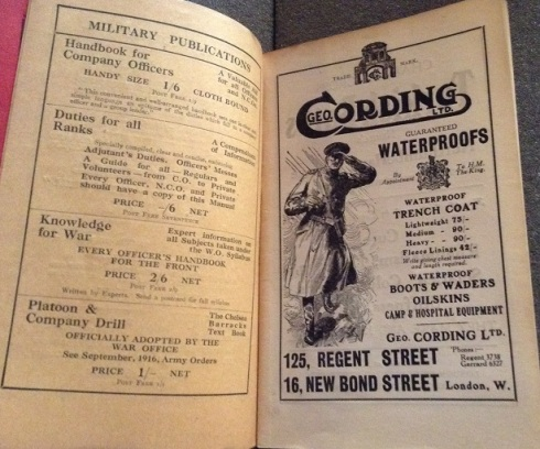Advertisements for military publications and waterproofs in Company Drill Illustrated, 1914.